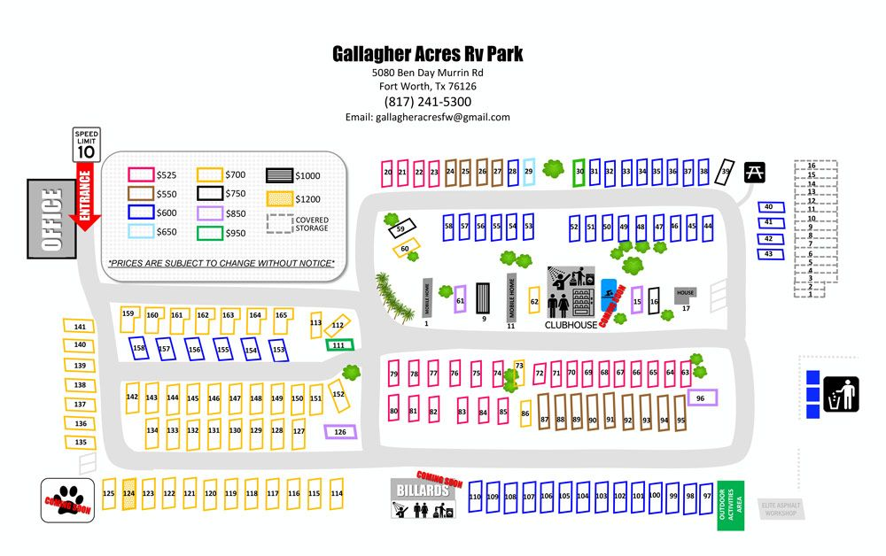 Gallagher Acres RV Park Map, Fort Worth, TX